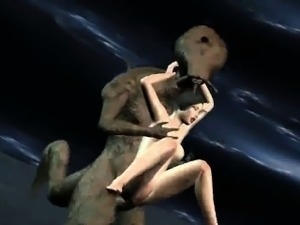 Foxy 3D babe gets fucked by an alien on the moon