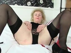 British grannies hot pussy pleasuring fun in solo.