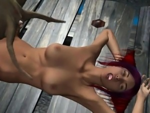 Hot 3D babe getting fucked by an alien spider