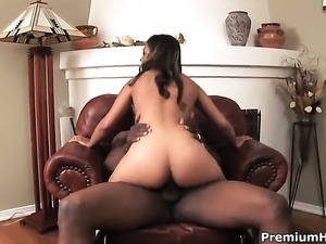 Estella Leon opens her legs to take mans erect cock in her wet spot in...