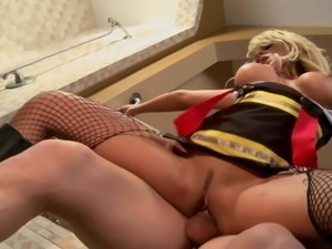 Well stacked blonde slut Brandy Blair in fishnet stockings and boots gets her...