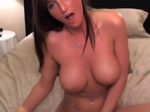 Big titted babe masturbating on camera, for money