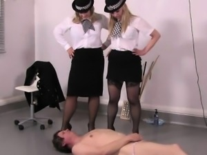 Police mistresses make sub cum in his own mouth