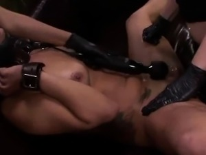 Tied up lesbian gets her cunt fucked