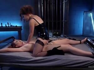 sexy juliette dominating her gagged slave