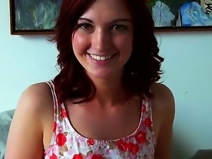 Alana Reins is a cute redhead with green eyes and shes going to suck on that...