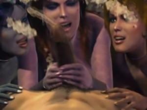 Three hentai goddesses sharing big shaft