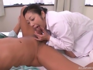 nurse sucks cock and gives a rimjob