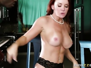 Jason Brown bangs Janet Mason with huge boobs in her mouth as hard as...