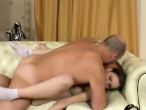 Agreeable beauty is delighting old tutor\'s hard male dong