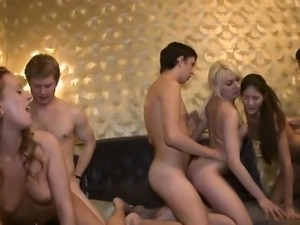 Group pussy-fucking with two wet and very wicked bitches
