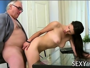 Mature teacher is getting his hard male ramrod delighted
