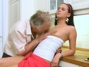 Fascinating young babe gives passionate ride to an old guy