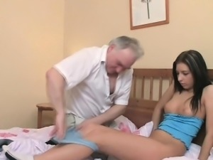Sweet young seductress receives screwed hard by old penis
