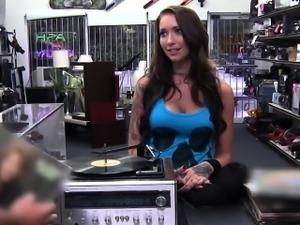 Sexy bartender sucks a big long dick