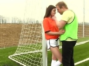 Skinny blonde teen babe Dutch football player pounded by pho