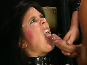 Hardball man pisses down into dirty prostitute's throat right before getting...