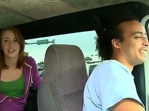 Sara Madison is talking with us as she is getting a ride. The brunette is...