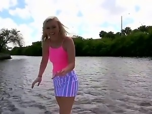 Cassidy Ryan is removing her clothes on the boat since it is hot out. She...