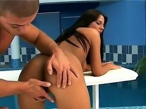 Young long haired brunette Simony Diamond with beautiful ass gets her tight...