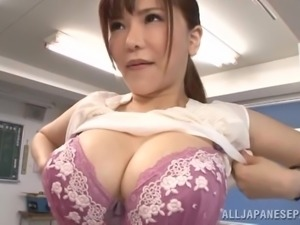 big breasted teacher tugs him off