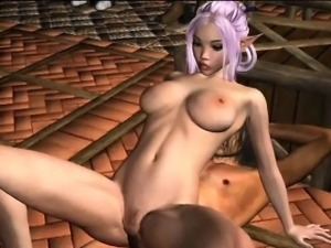 Purple haired 3D cartoon elf babe getting fucked