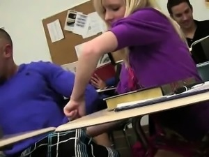 College babe sucks cock and gets fucked in a classroom