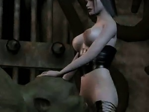 3D babe fucking an orc anally with a strap on dildo