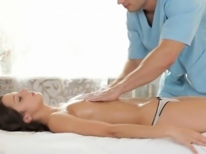 Delighting gorgeous gal with massage