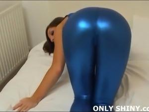 My tight blue spandex hugs my pussy so tightly
