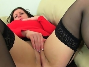 English milfs Jessica and April wear sexy black stockings