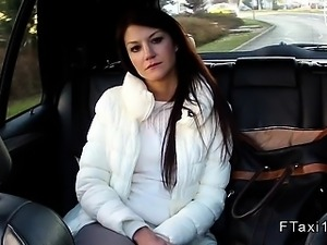 Shaved cunt Czech banged in fake taxi