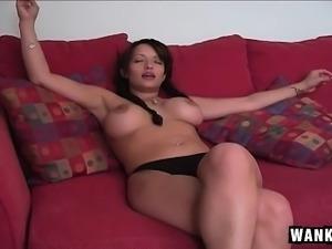 Big breasted brunette stripper offers a hung stud a wonderful blowjob