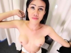 Thai ladyboy stroking her cock