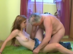 Horny old fart stuffs mouth of a young hottie with his knob