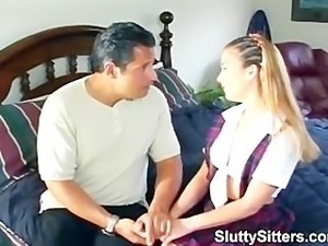 Hot babysitter reamed by her boss