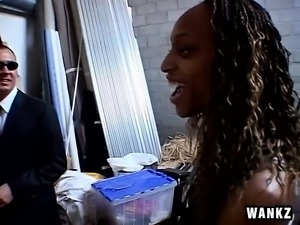 Hot black babe gets picked up on the street and fucked by a white guy