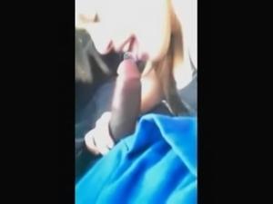 Beautiful white girl sucking black dick in a car