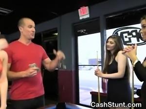 Brunette Dirtbag Flashing Titties For Cash In Stunt