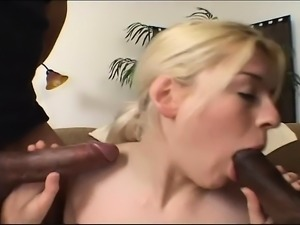 Naughty British girl with a lovely ass takes on two long black dicks