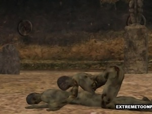 Two 3D Zombie Lesbian Babes Fooling Around