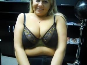 One cute fluffy webcam MILF off her big natural tits