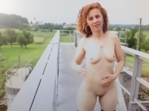 Naked out in public with toys.
