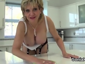 Unfaithful english mature lady sonia shows off her large boo