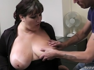 Hot office sex with busty secretary