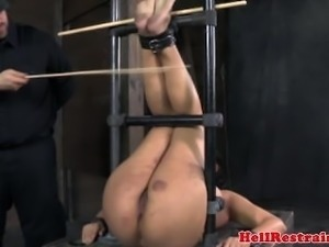BDSM sub getting ass and tit punishment