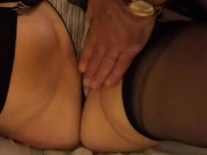 Mature Lady Wanking a guy off over her stockings