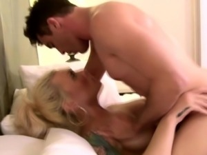 Stunning busty tgirl gets her cock ridden