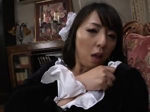 Hot Asian babe in a French maid costume gets her wet cunt f