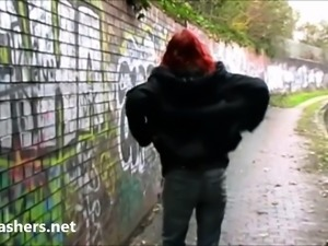 Redhead exhibitionist Monicas public
